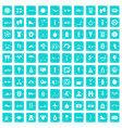 100 active life icons set grunge blue vector image vector image