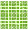 100 car icons set grunge green vector image vector image