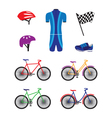 Bicycles and sports equipment for cycling vector image