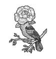 bird with flower instead head sketch vector image vector image