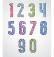 Bold condensed poster style numbers with hand vector image vector image
