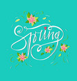 bright spring card on blue background with spring vector image vector image