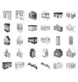 building and architecture monochromeoutline icons vector image