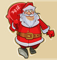 cartoon santa claus walks with a bag 2018 vector image vector image