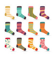 child socks icons colorful cartoon cute vector image vector image