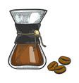coffeemaker sketch engraving vector image vector image