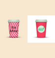 colorful coffee in plastic cup with text vector image vector image