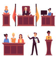 court judge and law - set with people characters vector image