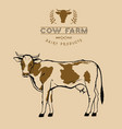 cow farm logo symbol in two colors beige vector image