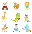 Cute Animal Characters Reading Books Set vector image vector image