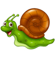 Cute cartoon snail on white background vector image