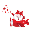 Cute flying santa touching christmas stars vector image