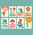 design template cards for childrens labels vector image vector image