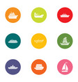dinghy icons set flat style vector image vector image