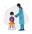 doctor makes a vaccine to a child vector image