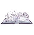 elephant and pug story open fable vector image vector image