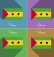 Flags Sao Tome Principe Set of colors flat design vector image
