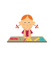 flat girl kid studying reading book vector image vector image