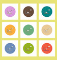 flat icons set of concept on colorful circles vector image vector image