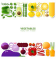 flat lay fresh vegetables on white background vector image