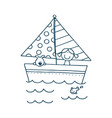funny ship floating in water and other batoys vector image vector image