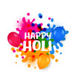 happy holi water balloons with colorful splatter vector image
