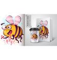 horror cartoon bee - mockup for your idea vector image vector image