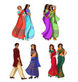 indian fashion set vector image vector image