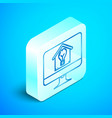 isometric line computer monitor with smart house vector image vector image