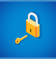 isometric padlock with key vector image