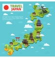 Japan travel map with traditional japanese vector image vector image