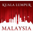 kuala lumpur malaysia city skyline silhouette red vector image vector image