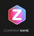 letter z logo symbol in colorful hexagonal vector image vector image