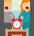 little boy and girl with alarm clock on bedside vector image vector image