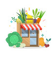 local fruit and vegetables store building vector image vector image