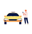 man call taxi guy using car online app cartoon vector image