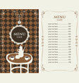 menu for the cafe with price list and served table vector image vector image