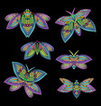 mosaic colorful butterflies - object isolated vector image vector image