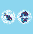 orca whales surrounded waves sticker set vector image vector image