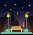 park in the night to beauty cityscape vector image