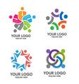 People social community logo set vector image vector image