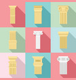 pillar icon set flat style vector image vector image