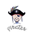 pirate icon label bearded man in cocked hat vector image