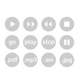 play button or flat grey web icon set isolated vector image vector image