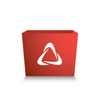 red box with white stylized recycling logo 3d vector image