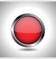 red round button with metal frame vector image