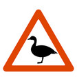 road sign goose crossing road vector image vector image