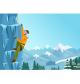 rock climbing man male on the ice rock winter vector image