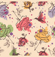 roses and colibri seamless pattern vector image