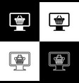 Set computer monitor with shopping basket icons